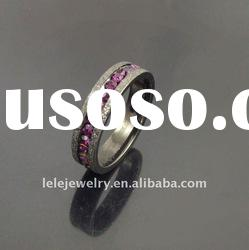 fashion black edge stainless steel rings jewellery with purple crystal