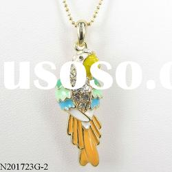 gifts for kids gold imitation parrot with blue wings pendant necklace