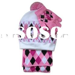 girls knitted hat scarf glove set