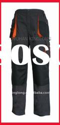 grey+orange canvas pants with knee pad for men