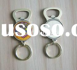 metal beer cap bottle opener keychain with customized logo