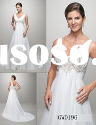 new designs deep V neck chapel length wedding gown