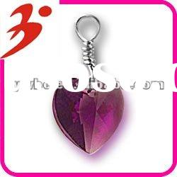 popular alloy silver crystal heart jewelry charm pendant(185504)