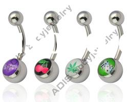 popular body piercing jewelry,shining banana belly ring