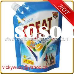 stand up plastic washing powder bag with spout