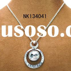 vogue silver plating alloy circle pendant glass stone necklace jewelry