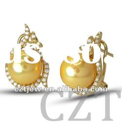 wedding yellow gold earring inlay CZ with Shell Pearl jewelry set