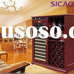 102 Bottles Humidity Control Compressor Wooden Wine Cooler, Wooden Wine Fridge With Glass Holder