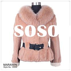 10529 Rabbit fur lady's coat with fox fur collar and belt