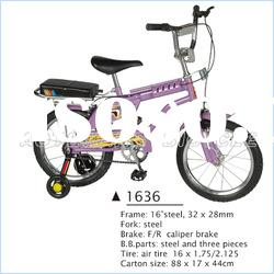 16inch, purple color, side wheels,3 wheels bmx Children Bicycle