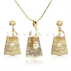 18K gold plated fashion pearl necklace earrings jewelry set