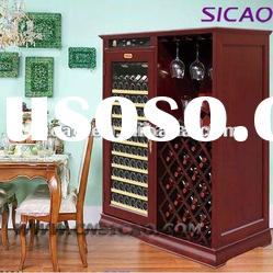 200L Refrigerated Glass Door Display Wooden Cabinet With Humidity Control For Red Wine