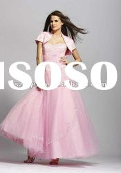 2012Hot Sale beaded crystal pink long women formal Evening Dress / Party Gown