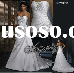 2012 Elegant A-line Crystal Beaded Lace up Back Diamond White Wedding Gown HL-WD2755