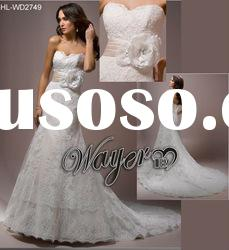2012 Fascinating Popular Sweetheart Belt Flower Fully Lace A-line Wedding Dress HL-WD2749