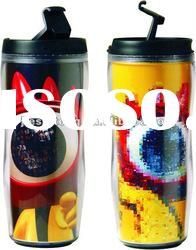 2012 New double wall plastic advertising mug with paper insert BPA free FDA approved