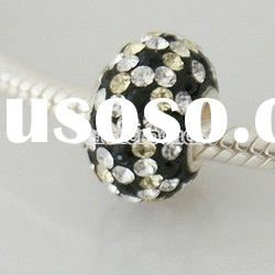 2012 Wholesale rhinestone silver core beads with sterling silver core