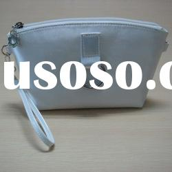 2012 hot sale designer high quality elegant white pu cosmetic bag