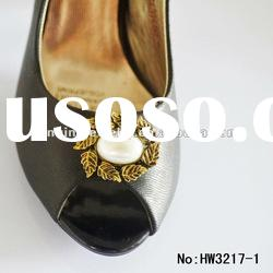 2013 bling high heel shoe pearl and alloy jewelry superstar shoe clips