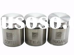 3pcs Round glass canister with stainless steel coating