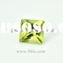4*4 Natural Peridot square princess cut for silver and gold Jewelry