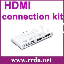 5-in-1 HDMI Dock Adapter AV USB Cable Camera connection kit for Apple iPad2/3/iPhone 4s