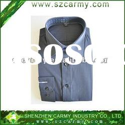 65% cotton 35% polyester gray and white stripe long-sleeve poplin shirt
