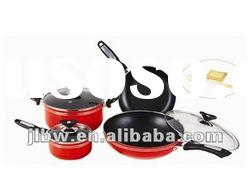 7 Pcs Red Carbon Steel Cookware Set with Lids