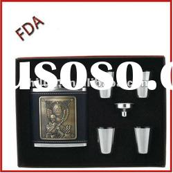 8oz leather stainless steel hip flask gift set