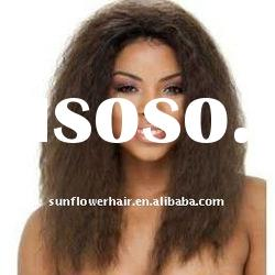 AAA grade afro kinky curl human hair full lace wig for black women