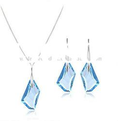 Authentic Austrian light blue crystal 925 sterling silver fashion necklace earrings jewelry set