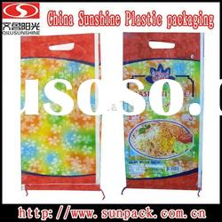 BOPP film laminated PP woven bag with hole cut handle for 25kgs rice packaging