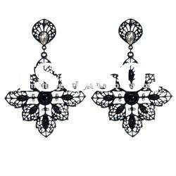 Black Leaf Earrings 2012/2013 Full/Winter Fashion Antique gold/silver Austrian Crystals