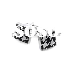 Black stainless steel men's cufflinks + brand cufflinks+luxury cufflinks