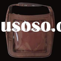 Brown Nylon Tote bag with Clear pvc window