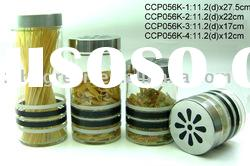 CCP056K glass jar with printing with stainless steel lid