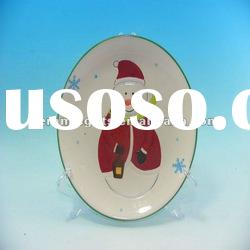 Christmas round ceramic plates dishes