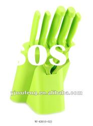 Color PP Knife Block With Color PP Handle Kitchen Knives Set
