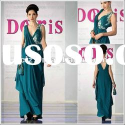 D30311 discount women embroidered green long evening wear Free shipping