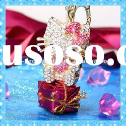 DKRK0232 hot design colorful fashion Hello Kitty crystal keychain
