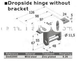 DM02095, zinc plated steel dropside hinge without bracket for truck trailer and container