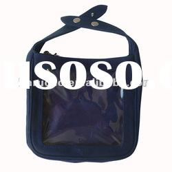 Dark Blue Canvas Tote bag with Clear pvc window