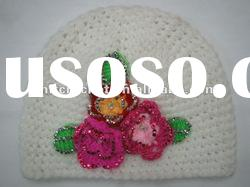 Direct Factory Fashion Hand made Crochet Baby Kids Flower Beanie Hat with Rhinstones (KCC-TM00112/D)