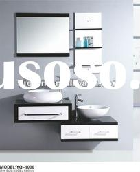 Double Basin Glossy Black And White Bathroom Vanity