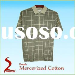 Double Mercerized 100% Cotton Knitted Polo Shirt Check Printed