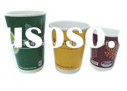 Double wall paper cup with lids (FDA,SGS)