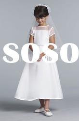 FG162 New design children short sleeve white stain beach flower girl dresses 2012 for wedding