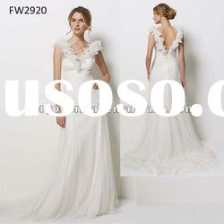FW2920 Sleeveless Empire Waist Wedding Dress With Open Back
