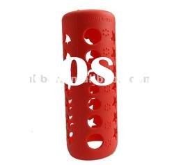 Factory sell durable red silicon baby feeding bottle cover