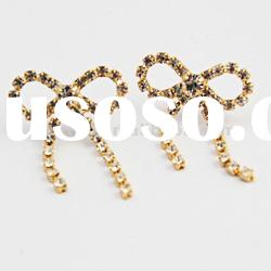 Fashion crystal ball connected dangle earrings gold earrings